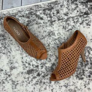 Aldo Rosetto open weave peep toe booties